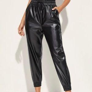 Faux leather  jogger pant size M
